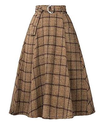 Femirah Women's Knee Length Vintage Plaid Wool Skirt