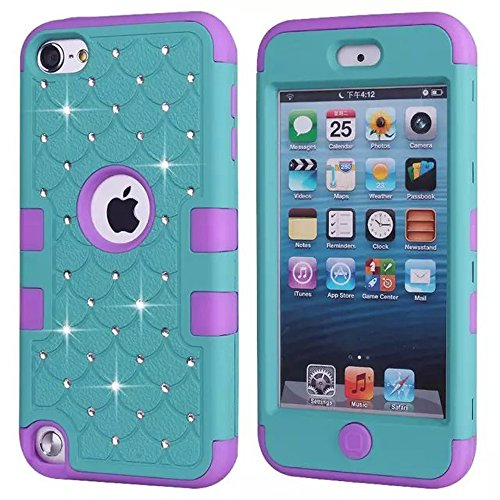 Price comparison product image iPod Touch 6th Case,  KAMII 3 Layers Verge Hybrid Soft Silicone Hard Plastic Triple Quakeproof Drop Resistance Protective Case Cover for Apple iPod Touch 5 6th Generation (Teal Purple)