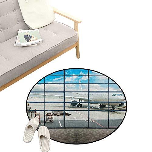 - Modern Round Rug ,China Shangai Airport with Big Jet Plane Wanderlust Traveller Photograph, Flannel Microfiber Non-Slip Soft Absorbent 39