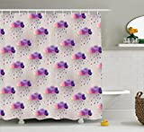 Pink and Purple Polka Dot Shower Curtain Ambesonne Geometric Decor Shower Curtain Set By, Retro Decor Triangle Pattern Geometric Art Mosaic Rain Drops On Polka Dots Print, Bathroom Accessories, 69W X 70L Inches, Purple Grey Pink