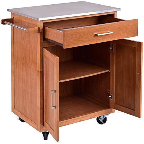 giantex wood kitchen trolley cart stainless steel top rolling storage cabinet island. Black Bedroom Furniture Sets. Home Design Ideas