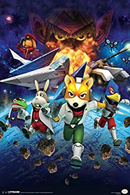 Pyramid America Laminated Star Fox Space Battle Fox Mccloud Arwing Super Nintendo 64 Gamecube Wii U Characters Sign Poster 12x18 Inch
