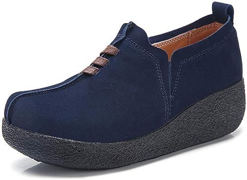 Minetom Mujer Mocasines de Gamuza Moda Loafers Cómodo Antideslizante Cuña Zapatos de Conducción Casual Plataforma Sneakers: Amazon.es: Zapatos y ...