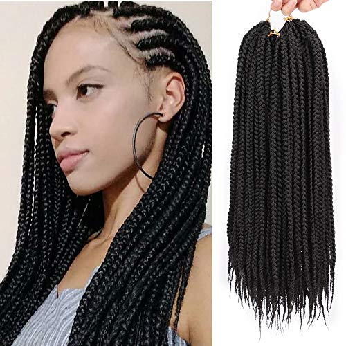 Stamped Glorious 18 Inch Box Braids Crochet Hair Extensions Black Color Dreadlocks Twist Crochet Braids Hairstyles Kanekalon Braiding Hair Braid Styles Long for Women 6 Pieces 24 Strands/Piece