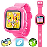 GBD Kids Game Watch,1.5'' Touch Smart Watches for Summer Birthday Gifts Travel Camping Kids Boys Girls with Pedometer Camera Alarm Clock Electronic Learning Toys (02Pink)