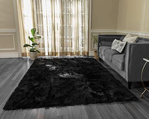 Silky Super Soft Black Faux Sheepskin Shag Area Rug Machine Washable