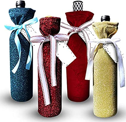 5Pcs Velvet Wine Bottle Cover Wrap Gift Bags Wedding Favors Party Home Decor