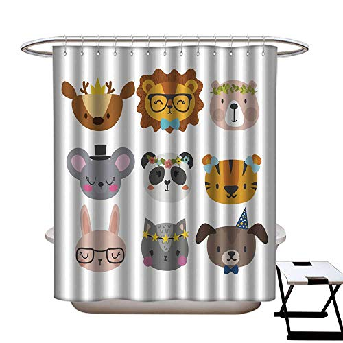 longbuyer Home Decor Shower Curtain Cute Animals with Funny Accessories Cat Lion Panda Dog Tiger Deer Bunny Mouse and Bear Cartoon Zoo Set of Hand Drawn Smiling Characters Shower CurtainW36 x L72 for $<!--$29.00-->