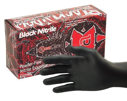Black Widow Black Nitrile Exam Gloves Large -