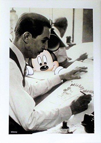 11 Lithograph (Disney Disneyland Park Mickey Mouse Watching Walt Disney Sketch at Work Lithograph Art Print 11