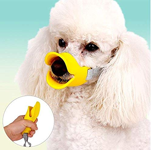 CC Dog Mouth Cover Duck Mouth Muzzle Anti Bite Anti Called Comfy Flexible Silicone with Adjustable Strap Muzzle for Protection Dog(L) Yellow