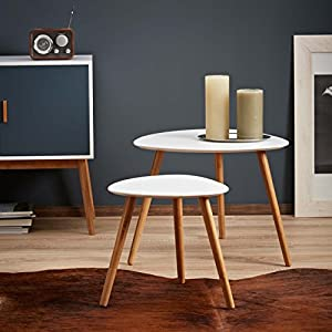 LOMOS® No.2 Beistelltisch (2er Set) In Weiß Aus Holz Im Modernen Retro Look