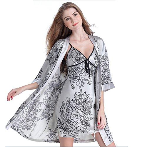 Nightdress Deux vêtements Manches Taille L À La Soie Maison couleur Sous Sling Robe gorge Gray Gray Pièces Pyjamas Longues Soutien Sexy Femmes xEf0Sq0wZ