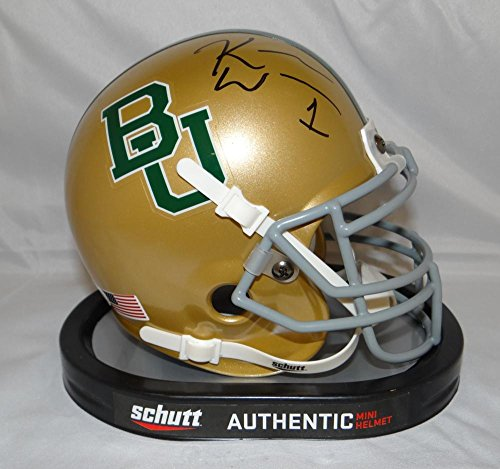Gold Mini Soccer Jersey - Kendall Wright Autographed Baylor Bears Gold Schutt Mini Helmet- JSA W Auth