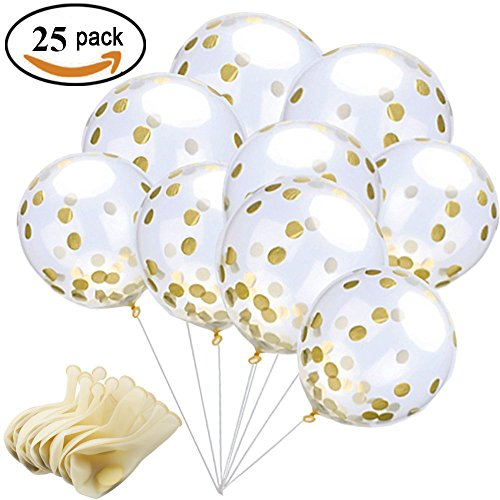 25 Pieces Gold Confetti Balloons 12 Inches Party Balloons With Golden Paper Confetti Dots (Confetti Has Been Put Into The Balloons) For Party Decorations Wedding Decorations And (Party Supplies Melbourne)