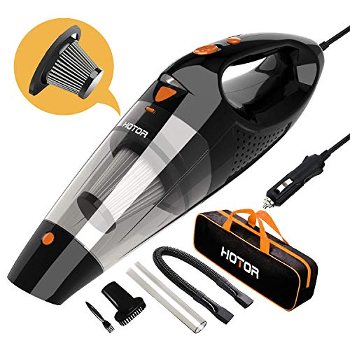 Car Vacuum, HOTOR Corded Car Vacuum Cleaner High Power for Quick Car Cleaning, DC 12V Portable Auto Vacuum Cleaner for Car Use Only - Orange (Vacuum Car Wireless)