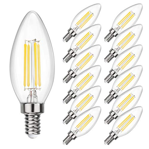 SHINE HAI Candelabra LED Filament Bulbs 40W Equivalent, 4000K Daylight White Chandelier B11 LED Bulb E12 Base Decorative Candle Light Bulb, Pack of 12