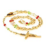 Rosary Necklace, Colorful Crystal Prayer Beads, 24K Gold Overlay Catholic Jesus Crucifix and Virgin Mary Centerpiece, GUARANTEED FOR LIFE, 20 - 22 Inches