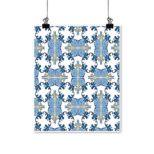 Modern Canvas Painting Wall Art Roman Tile Mosaic Design with Famous Artful Eastern Inspired Image Blue Yellow for Home Office,24
