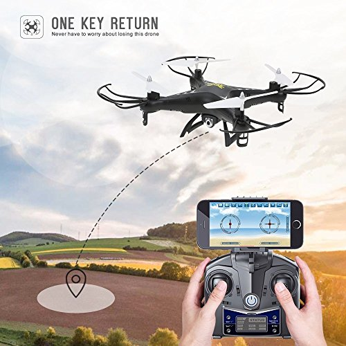 Holy Stone HS110 FPV Drone with 720P HD Live Video WiFi Camera 2.4GHz 4CH 6-Axis Gyro RC Quadcopter with Altitude Hold, Gravity Sensor and Headless Mode Function RTF, Color Black