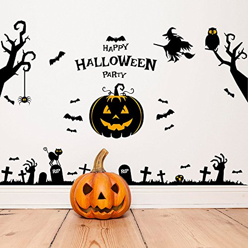 3D Happy Halloween Wall Sticker,Napoo 2017 New Removable Pumpkin Witch Ghosts Pattern Removable Mural Decor Decal For Home Household Room (140cm92cm)