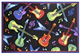Colorful Guitars Area Rug Entry Mat - Funky Electric & Acoustic Instruments
