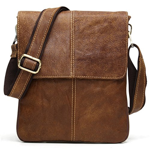 Vintage Nubuck Leather Cross-body Satchel Messenger Bag Small Casual Shoulder Purse (Brown)