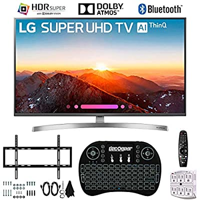 "LG 49SK8000PUA 49"" 4K HDR Smart LED AI Super UHD TV w/ThinQ with 2.4GHz Wireless Backlit Keyboard, Slim Wall Mount Kit Ultimate Bundle and 750 Joule Surge Protector (2018 Model)"