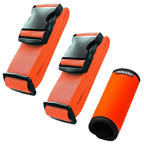 Hibate (2_Orange) Luggage Straps Belts and (1_Orange) Neoprene Suitcase Handle Wrap Grip Tags ()