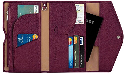 Travelambo Rfid Blocking Passport Holder Wallet & Travel Wallet Envelope 7 Colors (wine red / burgundy)