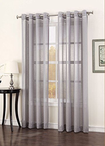 Curtain Closeout Julie Window Curtain Panel, 52 by 63-Inch, Pewter