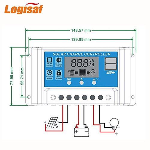 Logisaf 30A 12V/24V Solar Controller LCD Solar Panel Regulator Charge Controller Dual USB Port by Logisaf (Image #1)