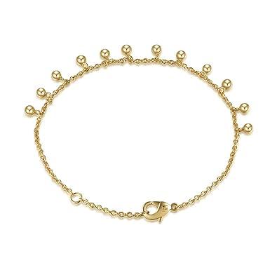 8f8e71cf1f4 Amazon.com: AGVANA Yellow Gold Filled Bead Ball Dainty Bracelet for Women  Girls Adjustable Extender 6.1