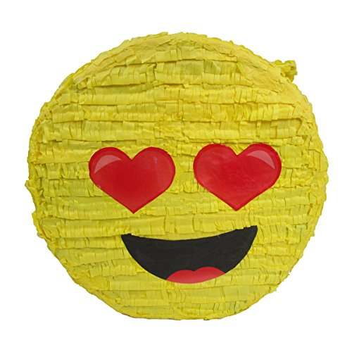 (Heart Eyes In Love Emoji Pinata, Party Game, Centerpiece Decoration and Photo)