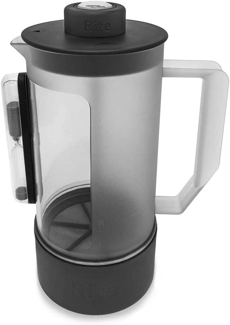 Rite Press Essential Plus, French Press Coffee Maker, Integrated Thermometer, Built in Hourglass Timer, and Easy-Clean Bottom for No Mess Clean Up, 1 L or 34 oz (8 cups)