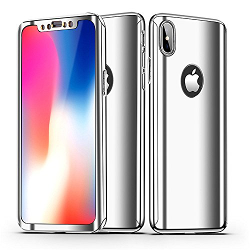 Case Mirror Screen Protector - Leagway iPhone X Case Cover, Ultra Slim 360 Degree Full Body Protection 3 IN 1 Anti-Scratch Plating Mirror Case Skin With Tempered Glass Screen + Hard PC Protector for Apple iPhone X / 10 (Silver)