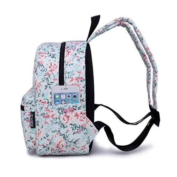 """Lily & Drew Lightweight Travel Backpack for Women and Teens 4 MEDIUM size 15-inch backpack. Please note there are two sizes: small and medium. This medium-sized backpack is 15.5"""" tall x 11.5"""" wide x 6.3"""" deep. Binders, folders and laptop computers will fit. See pictures and description for reference and further details. POCKETS. Two side pockets for water bottles, sun-glasses, etc. Front zippered pocket for small items such as pens, phone, etc. Large main compartment with heavy-duty double zippers for big items such as laptop, binder, books, notebook, folder, and more. PERFECT for laptop. Convenient internal sleeve is ideal for a 14-inch laptop computer, tablet or iPad. Perfect fit for MacBook, MacBook Air or MacBook Pro 13-inch. Maximum laptop size is about 13-1/2"""" x 10"""" x 1"""" thick."""
