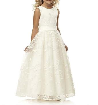 Amazon.com: ZW Flower Girl vestido encaje boda fiesta de ...