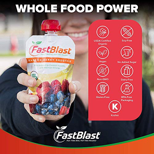 FastBlast Banana-Berry Smoothie. Supports Intermittent Fasting. Controls Appetite and Maintains Energy. USDA Certified Organic, Vegan, Non-GMO, Soy Free & No Added Sugar (48 Units: 4 Packs of 12) by FastBlast (Image #6)