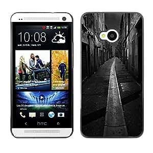 For HTC One M7 Case , Black White Italy France City - Diseño Patrón Teléfono Caso Cubierta Case Bumper Duro Protección Case Cover Funda