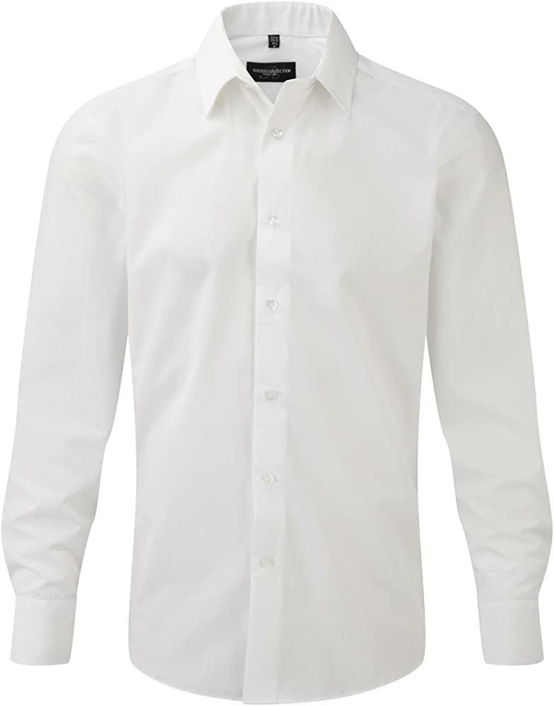 Camisa de Manga Larga Tailored popelín Blanco XXL Blanco Blanco XX-Large: Amazon.es: Ropa y accesorios
