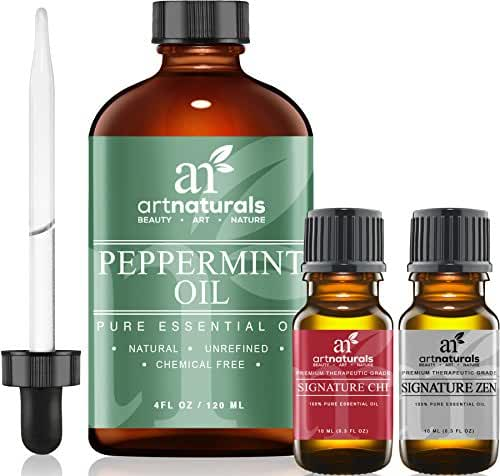 ArtNaturals Peppermint Oil w/ Zen & Chi 100% Pure and Natural Premium Therapeutic Grade Mentha Peperita Essential 4 Oz Oil-Best Fresh Scent for Home and Work-Perfect to Repel Mice and Spiders