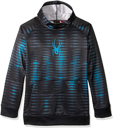 Spyder Boys Edge Hoodie, Small, Space/Electric Blue Print/Electric Blue