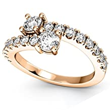 """Women's """"Ever Us"""" Two Stone Diamond Ring with Accents 18k Rose Gold (1.06ct)"""