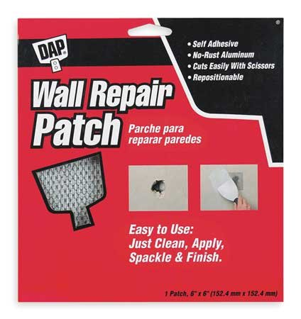 Wall Repair Patch, Self-Adhesive, 6 x 6 In