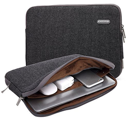 Kayond Herringbone Woollen Water-resistant 17 Inch Laptop Sleeve Case Bag (17 Inches, Black)
