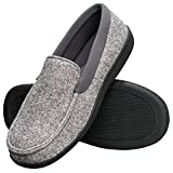 Hanes Men's Slippers House Shoes Moccasin Comfort Memory Foam Indoor Outdoor Fresh IQ (Small (6.5-7.5), Grey)