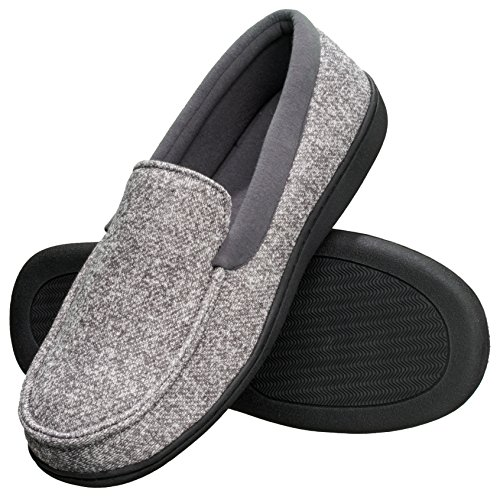 Hanes Men's Slippers House Shoes Moccasin Comfort Memory Foam Indoor Outdoor Fresh IQ (XX Large - 13 Slipper Socks