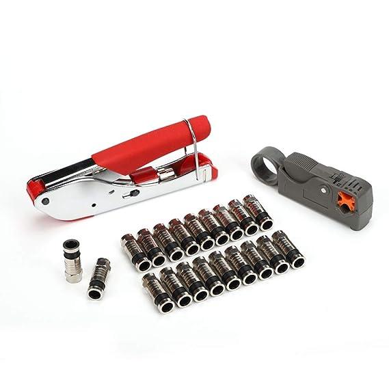 Yardwe Juego de alicates de alicate de alicates de cable coaxial herramienta de combinación con tapones de 20 f: Amazon.es: Bricolaje y herramientas