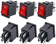 Twidec/6Pcs AC 6A/125V 10A/250V DPST 4 Pins 2 Position ON/Off Red LED Light Illuminated Boat Rocker Switch Tog